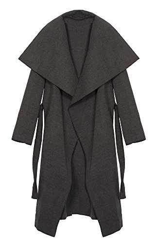 Kendindza Damen Mantel Trenchcoat mit Gürtel Onesize Lang und Kurz (Onesize, Grau Lang) (Groß Mantel)
