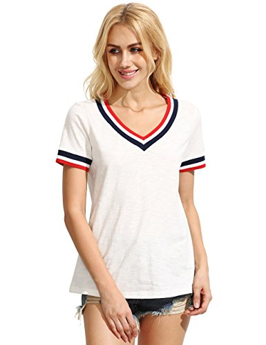 ROMWE Damen Sportlich T-Shirt V Ausschnitt Kurzarm Top Weiß S