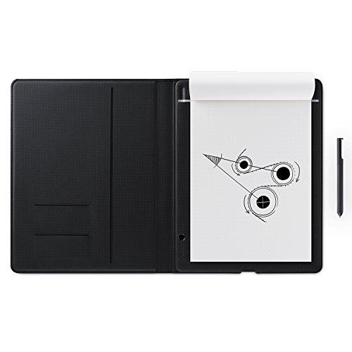 Wacom Bamboo Folio Smartpad A4 / Großes Portfolio Notepad mit Digitalisierungs-Funktion inkl. Eingabestift mit Kugelschreibermine / Kompatibel mit Android und Apple