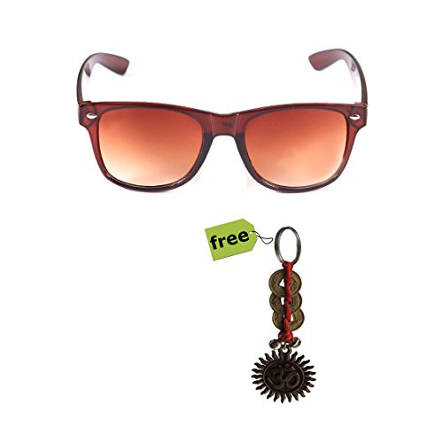 Elligator Trendy Brown Wayfarer Sunglass With Stylish Om Key Chain Combo (Set Of 2)  available at amazon for Rs.179