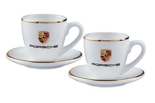 Preisvergleich Produktbild Porsche Espressotassen-Set mit Wappen, weiß/gold