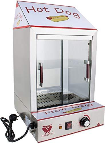 Beeketal \'HDS-2\' Profi Gastro Edelstahl Hot Dog Steamer Maker zum Erhitzen und Warmhalten von ca. 100 Hotdog Würstchen und 20 Brötchen, Hotdog Würstchenwärmer und Brötchenwärmer Imbiss Stand Gerät