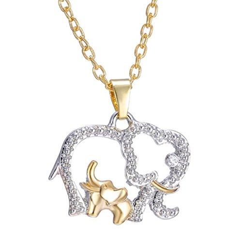 IzuBizu London Collar Familia Elefante Chapado en Oro y Plata, con colgante de Elefante y su bebé - Caja de Regalo Gratis