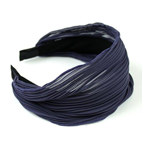 rougecaramel - Accessoires cheveux - Serre tête/headband large plissé façon bandeau - gris violine