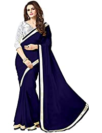 Tread India Chiffon Saree (Tread-Sliver Newy Blue_Newy Blue)