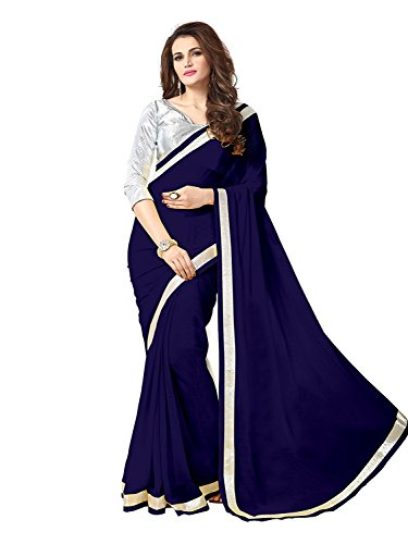sarees(TreadIndia Women\'s Newy Blue plain boder work chiffon saree)