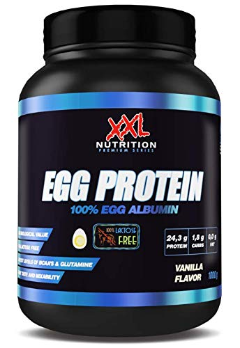 XXL Nutrition Egg Protein | Ei Eiweiß Fettfrei - Nur 0,2 Gramm Zucker | 1000g (Vanille) (Egg Protein Vanille)