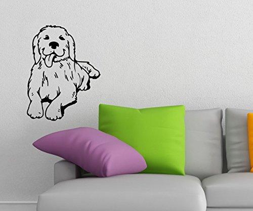 Wandtattoo Golden Retriever sticker Tier dog Hund Tür Auto WC Hunde Aufkleber Wohnzimmer Schlafzimmer 1B131, Farbe:Königsblau Matt;Hohe:75cm