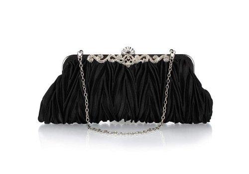 Bundle Monster Womens Fashion Classy Elegant Envelope Evening Purse Cinched Vintage Satin Clutch Hand Bag, COLOR: MIDNIGHT BLACK