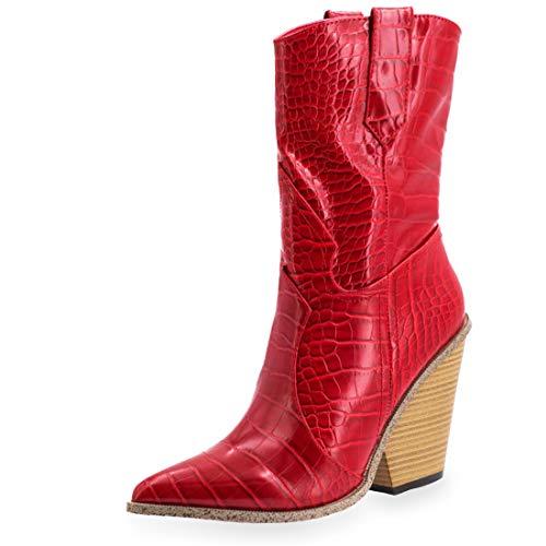 Marimo Damen Western Cowboy Stiefel Stiefeletten Boots Kroko-Look Lederoptik Blockabsatz Rot 38