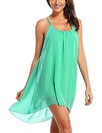 Dayiss®Chic Sexy Damenkleid Chiffonkleid Sommerkleid ärmellos Schulterfrei mit Swingendem Rock Strandkleid in 3 Farben (M, Korallenrot)