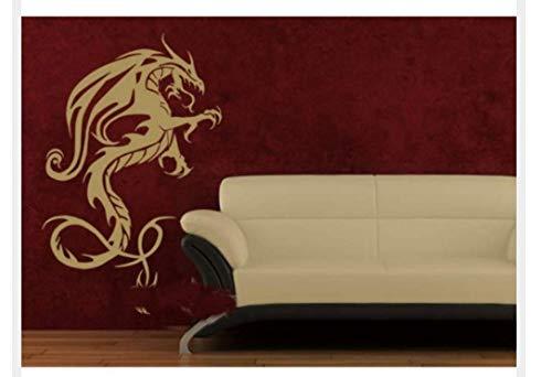 Wandaufkleber Mädchen Chinesische Drache Mythologie Kreatur Muster Geschnitzt Personalisierte Dekoration PVC Wandbild 42X67 CM