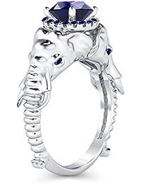 Silvernshine Halo Round Cut Simulated Blue Sapphire CZ Diamond 18K White Gold Plated Elephant Ring