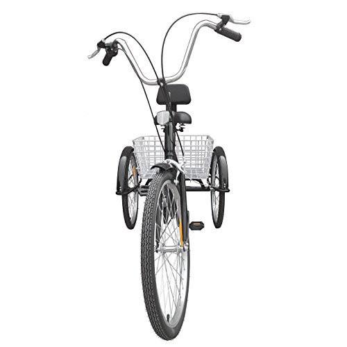 "41SYKZRjl7L. SS500  - Ridgeyard 24"" 6 Speed 3 Wheel Upgraded Fender Adult Trike Tricycle Bicycle Bike Cycling Pedal with Shopping Basket"