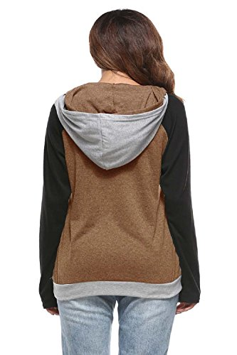 YACUN Le Donne L'inverno Felpa Patch Camicia Manica Khaki
