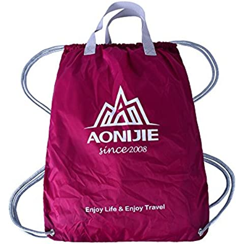 aonijie impermeabile in nylon pieghevole Outdoor zaino coulisse Formazione Basket Pouch Bag, Hot Pink