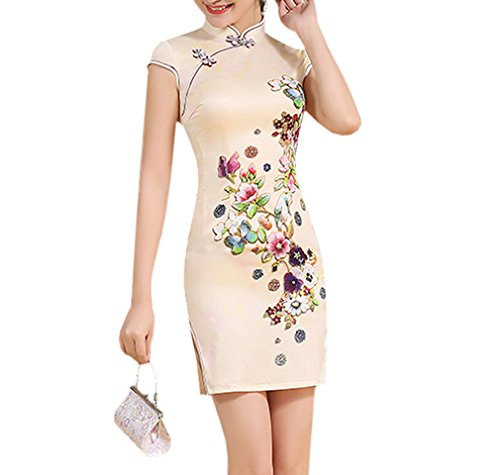 Luck Femme Qipao Courte Robe Style Chinois Moulante Elégant en Polyester Multicolore