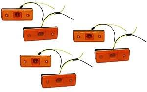 Aerzetix: Jeu de 6 Feux de gabarit position lumière Orange 12V à 4 LED CZ pour utilitaire caravane - C2004