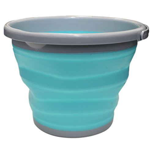 Cubo de Agua Plegable Plástico Silicona 10 Litros por Kurtzy - Balde...