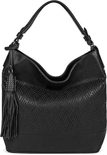 styleBREAKER Damen Hobo Bag Handtasche mit Cutouts in Rauten Form und Quaste, Shopper, Schultertasche, Tasche 02012285, Farbe:Schwarz -