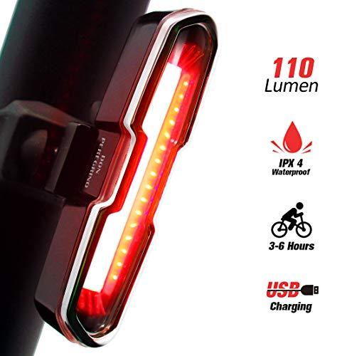 DONPEREGRINO B1-110 LM Luz Trasera Bici Diurna y Nocturna de Alto Brillo, LED Luz Bicicleta Roja Recargable USB con Modos Fijos e Intermitentes