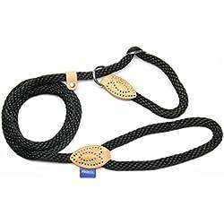 PROFTI Retrieverleine aus Nylon, Lederelemente, Zugstopp, große/Kleine Hunde, 1,2x150cm, Schwarz