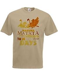 Mens Khaki Lion King 'Hakuna Matata' Song T-Shirt Simone Pumba & Simba Top