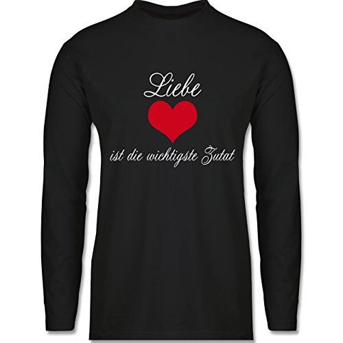 Shirtracer Küche - Liebe ist Die Wichtigste Zutat - Herren Langarmshirt Schwarz