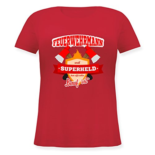 rmann - Weil Superheld Kein Offizieller Beruf ist - S (44) - Rot - JHK601 - Lockeres Damen-Shirt in Großen Größen mit Rundhalsausschnitt (Plus-size-superhelden-t-shirts)