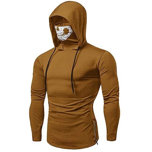 SANFASHION Herren Herren HoodedherrenMask Skull Sweatshirt Pure Color Pullover Langarm Kapuzenpulli Tops -