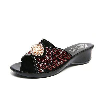 Sommer Schuhe Damen Sandalen Kleid Lässig-PU-Blockabsatz-Komfort-Gold Weiß Rot Red