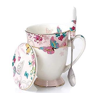 YBK Tech Euro Style Art Bone China Ceramic Tea Cup Coffee Mug with Lid for Breakfast Home Kitchen (Butterflies Pattern) (Pink)