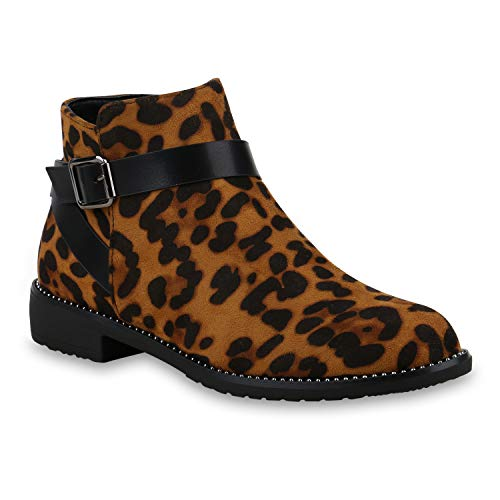 Damen Stiefeletten Ankle Boots Leicht Gefütterte Leo Print Booties 173139 Hellbraun Leopard 39 Flandell - Ankle Boots Leopard