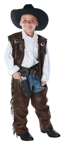 (Small, Brown) - Cowboy Chaps Halloween Costume - Child Size Small 4-6 Kid Cowboy-chaps