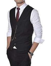 (GVE) TheLees Slim Fit Chain Point 4 Button Vest Waist Coat