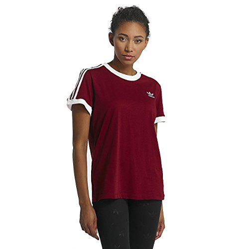 adidas Originals Damen T-Shirt 3 Stripes CY4752 Bordeaux, Size:34 (Rot Adidas T-shirt)
