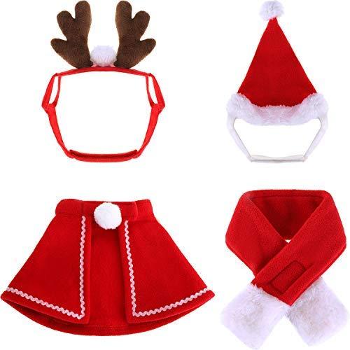Kostüm Zubehör Dea - Deaman Kleidung Jumpsuit Weihnachten Haustier Kostüm Zubehör Kits Einschließlich Weihnachtsmann Claus Hut Weihnachtsschal Weihnachten Mantel und Elch Stirnband 4 Stück Total Slimfit