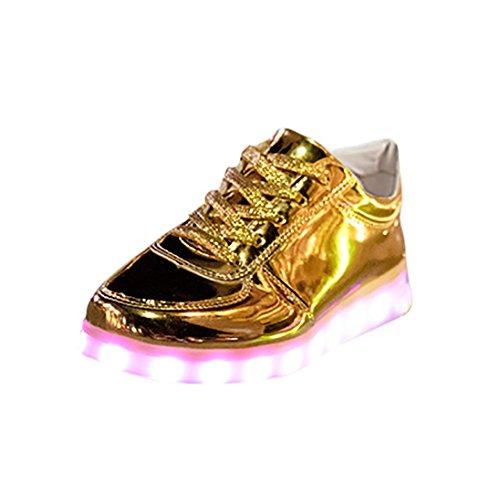 Herren/Damen Sneaker, 2018 heiß Verkauf Leuchtende Freizeitschuhe für Paare Unisex Licht schnüren Oben LED-Lade Sneaker USB Licht Sportschuhe 36-43 EU (43, Gold) (Kinder Stiefel Auf Verkauf)