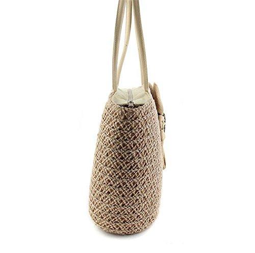 Borsa a tracolla di colore solido della borsa della borsa della paglia della spalla del tote del fiore della paglia , milk white brown