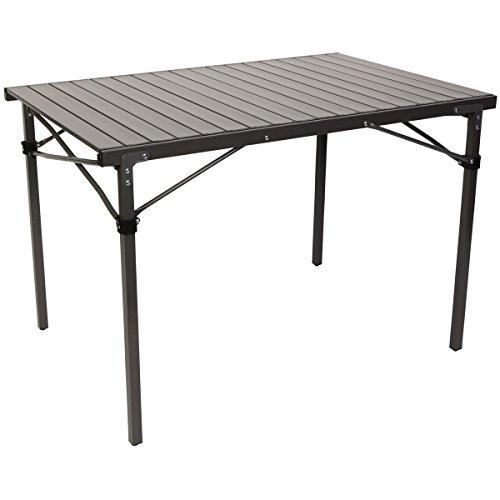 Aluminium Campingtisch mit Lamellen Tischplatte. Ein Rolltisch für Indoor und Outdoor. Faltbar. Hochwertiger Klapptisch Hitzebeständig und Wasserfest. Beistelltisch auf Festivals. Maße: ca 108x70x70cm