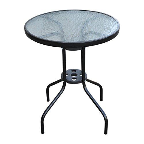 Outsunny Tavolo Rotondo con Piano Vetro Temperato Tavolino da Giardino Nero Φ60 x 70