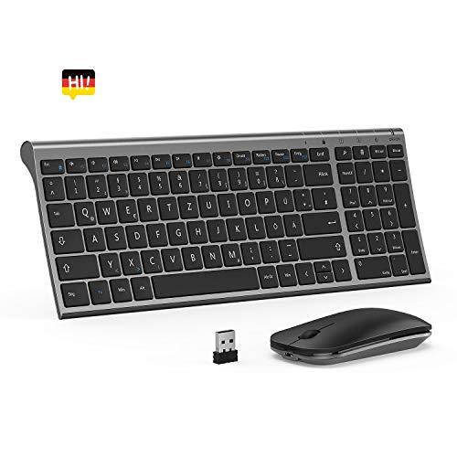 seenda Tastatur Maus Set, Wiederaufladbare Kabellose Tastatur mit Ziffernblock und optische Maus, kompatibel mit Windows und Mac OS, Space Grau