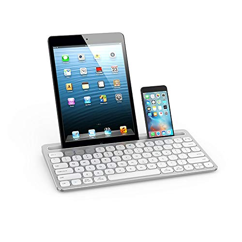 ILkeyko Wireless Keyboard Ultradünne Chocolate Keycap Quiet Connect Weiße Tastenkappe für Laptop/iPad/Android Tablet/Handy (Hp-connect)