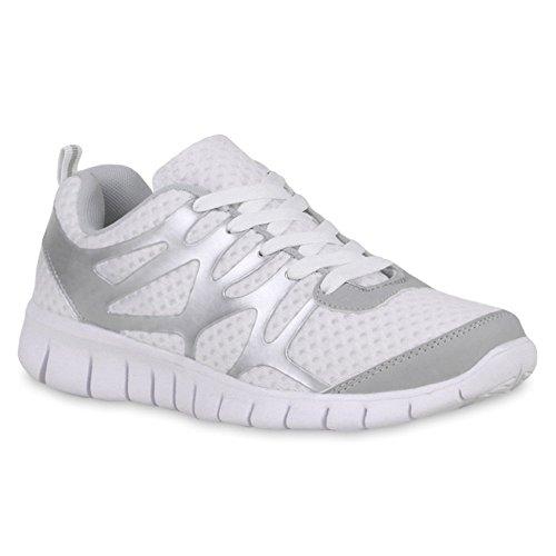 Herren Laufschuhe Sneakers Runners Sportschuhe Lack Weiss Grau Brooklyn
