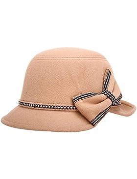 Dosige Mujer Vintage Sombrero Gorra Redondo Bowler Cloche Bombín Invierno Visera Curvada Bowler Hat (Khaki)
