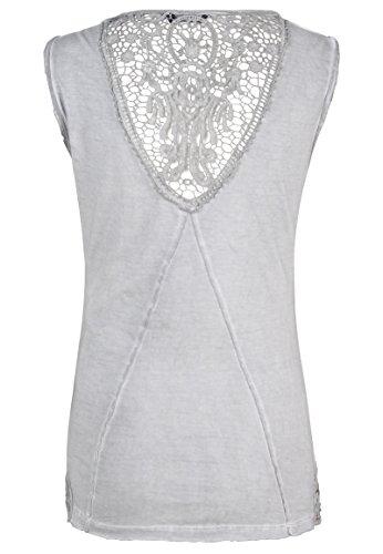 Fresh Made Vintage Spitzentop Uni   Damen Tank-Top mit Spitze Einfarbig IM Used-Look Light-Grey