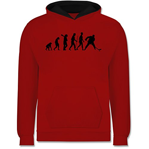 Evolution Kind - Eishockey Evolution - 12-13 Jahre (152) - Rot/Schwarz - JH003K - Kinder Kontrast Hoodie