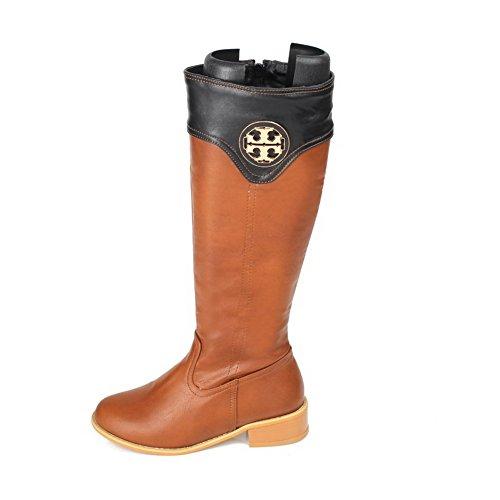 AgooLar Damen Gemischte Farbe Niedriger Absatz Rund Zehe Stiefel mit Metallisch Gelb
