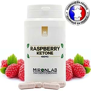 Raspberry ketone complément minceur 400mg / gélule | Pur concentré de cétone de framboise | Brûle graisse et facilite la perte de poids | 90 gélules végétales | Fabriqué en France MironLab