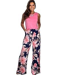 09a4fe97 Longwu Mujeres Casual Sin Mangas Mono Flor Impresa Pantalones Anchos de  piernas largas Traje de Mameluco